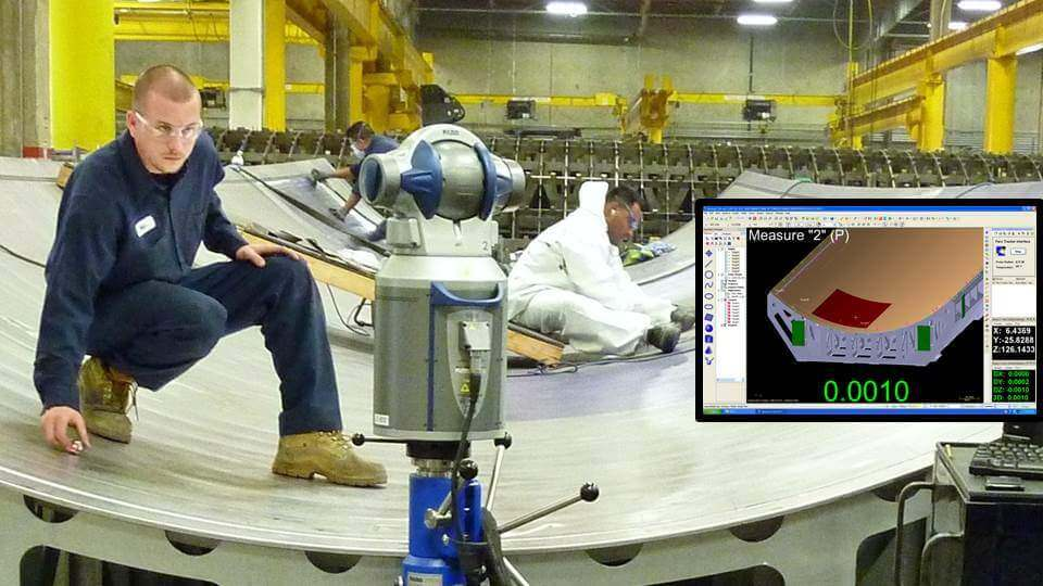 Inspection a large aerospace tooling fixture with a laser tracker and Verisurf software